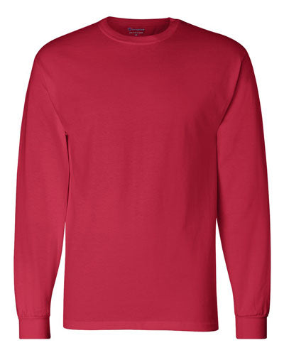 Red Custom Champion Long Sleeve T- Shirt