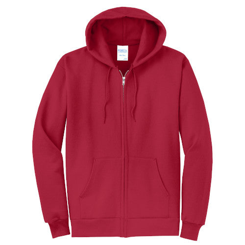 Red Custom Full Zip Hooded Sweatshirt