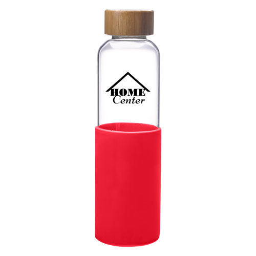 Red Custom Modern Glass Water Bottle