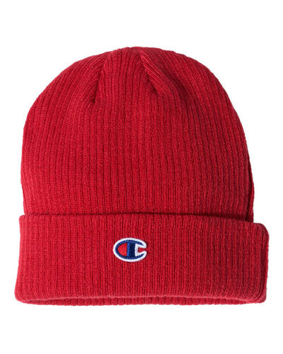 Red Scarlet Custom Champion Ribbed Knit Cap