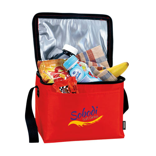Red Custom 6 Pack Cooler Bag with logo