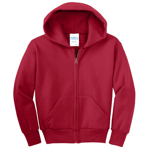 Red Custom Youth Full Zip Hooded Sweatshirt