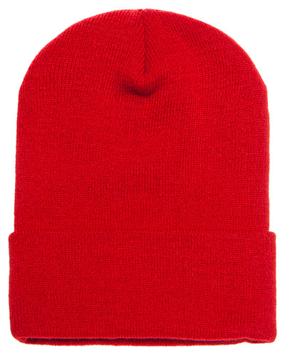 Red Custom Yupoong Knit Cap