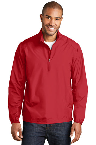 Rich Red Custom Half Zip Windshirt Jacket with logo
