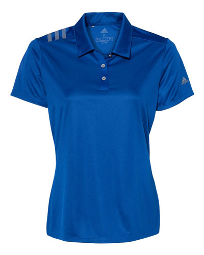 Royal Custom Adidas Womens 3 Stripe Polo