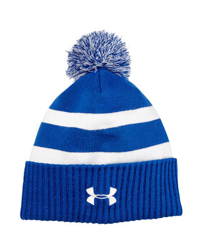 Royal/ White Custom Under Armour Pom Beanie