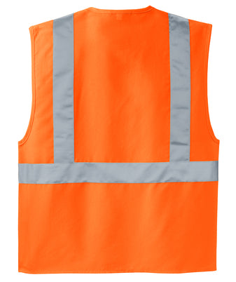 Safety Orange/Reflective Custom Safety Orange Reflective Vest back side