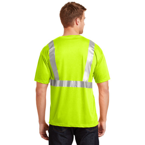 Safety Green/Reflective Custom Safety Green Reflective T-Shirt back side