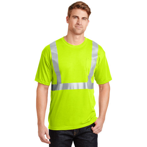Safety Green/Reflective Custom Safety Green Reflective T-Shirt with logo