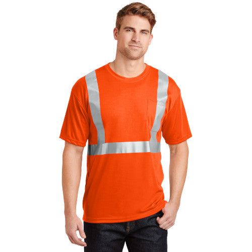 Safety Orange/Reflective Custom Safety Orange Reflective T-Shirt with logo