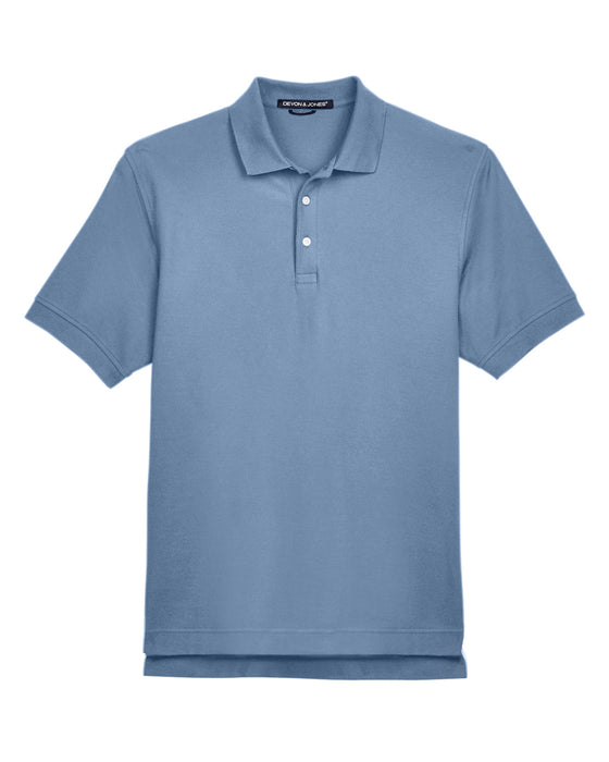 Slate Devon & Jones Pima Pique Polo With Logo