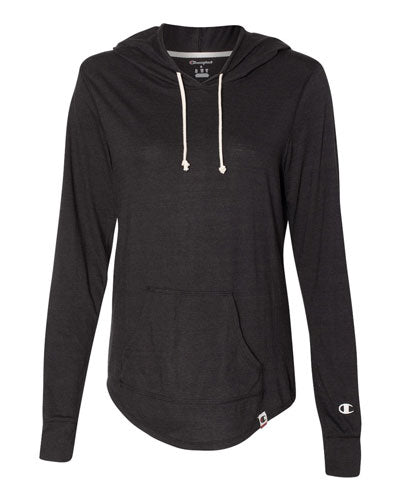 Solid Black Custom Champion Women's Originals Triblend Hooded Pullover