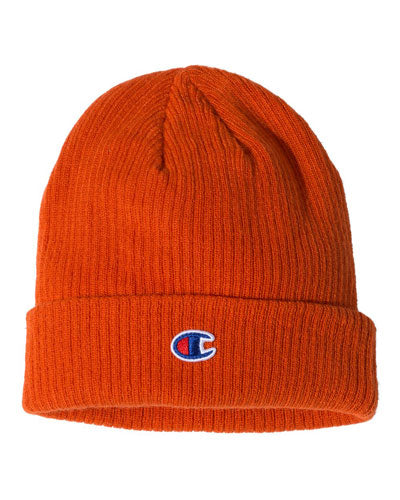 Spicy Orange Custom Champion Ribbed Knit Cap