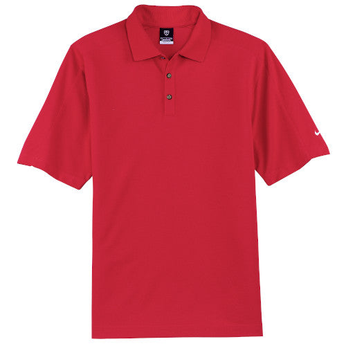 Sport Red Nike Dri-FIT Pique Polo With Logo