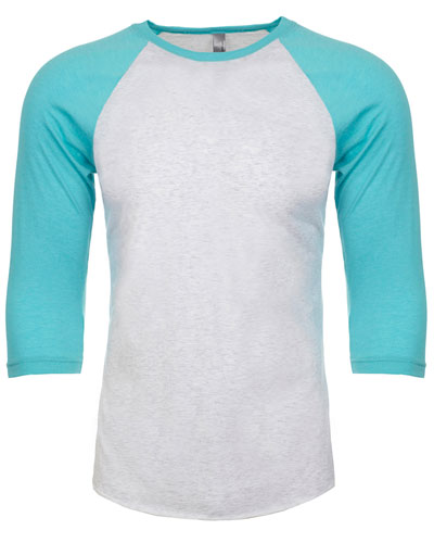 T Blue/ Heather White Custom Next Level Unisex Triblend 3/4-Sleeve Raglan