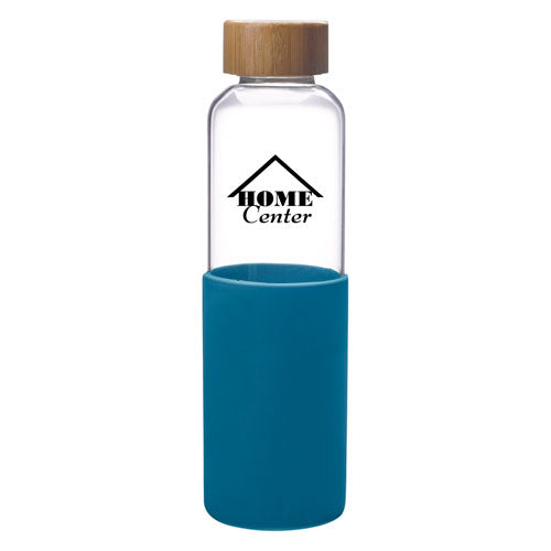 Teal Custom Modern Glass Water Bottle