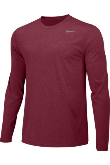 Team Maroon Custom Nike Dri-FIT Long Sleeve T-Shirt