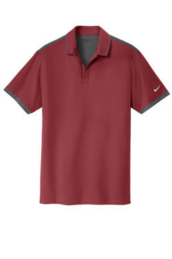Team Red/ Dark Grey Nike Dri-FIT Stretch Woven Polo With Logo