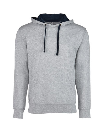 Heather Grey/ Midnight Navy Custom Next Level Unisex French Terry Pullover Hoody
