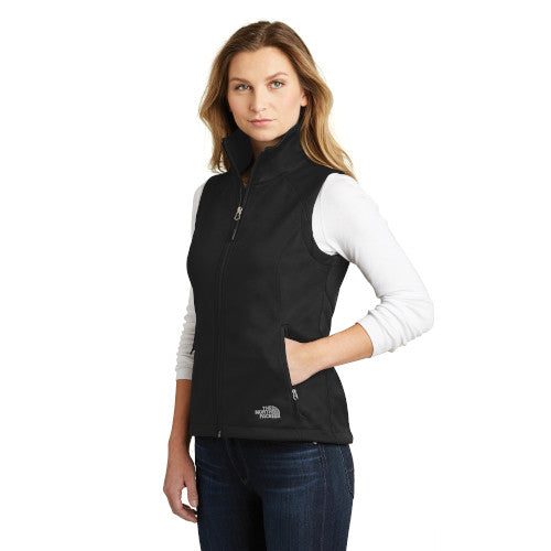 TNF Black Custom The North Face Ladies Soft Shell Vest Jacket with logo