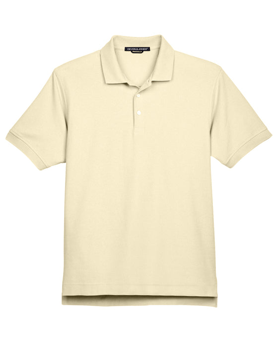 Transparent Yellow Devon & Jones Pima Pique Polo With Logo