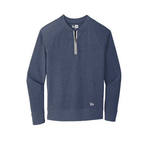 True Navy Heather Custom New Era Sueded Cotton Blend 1/4-Zip Pullover