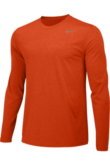 University Orange Custom Nike Dri-FIT Long Sleeve T-Shirt