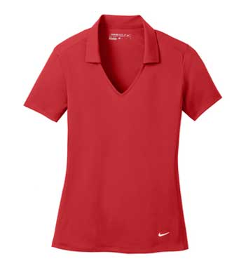 University Red Nike Ladies Dri-FIT Vertical Mesh Polo With Logo
