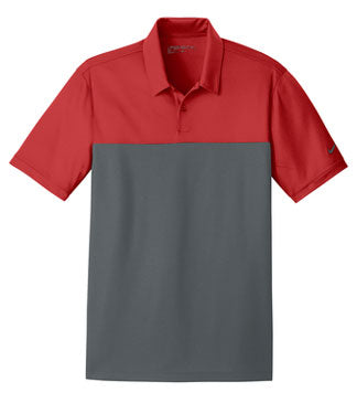 Varsity Red/ Anthracite Nike Dri-FIT Colorblock Micro Pique Polo With Logo