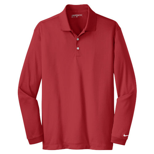 Varsity Red Nike Dri-FIT Long Sleeve Golf Shirt WIth Logo