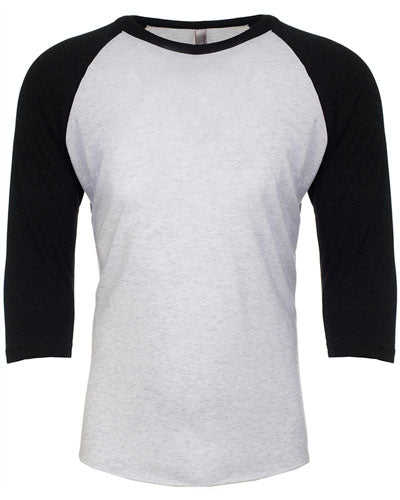 Vintage Black/ Heather White Custom Next Level Unisex Triblend 3/4-Sleeve Raglan