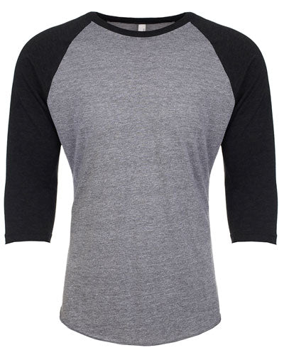 Vintage Black/ Pr Heather Custom Next Level Unisex Triblend 3/4-Sleeve Raglan