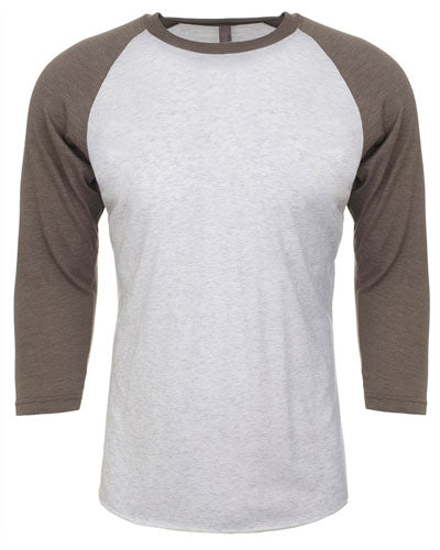 Vintage Grey/ Heather White Custom Next Level Unisex Triblend 3/4-Sleeve Raglan