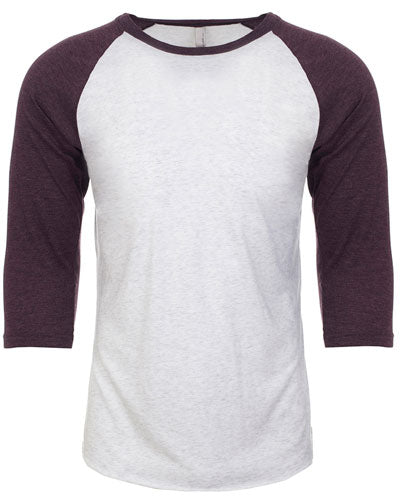 Vintage Purple/ Heather White Custom Next Level Unisex Triblend 3/4-Sleeve Raglan