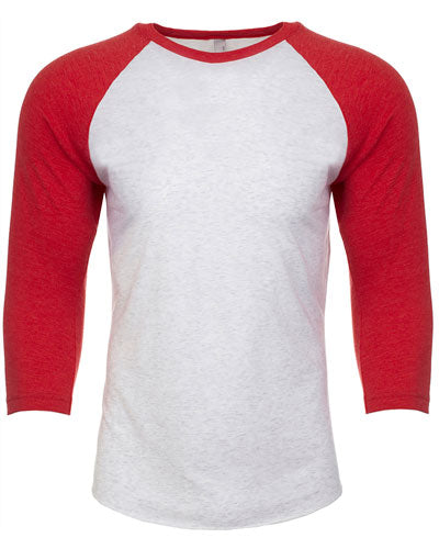 Vintage Red/ Heather White Custom Next Level Unisex Triblend 3/4-Sleeve Raglan