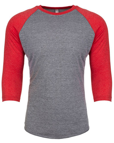 Vintage Red/ Pr Heather Custom Next Level Unisex Triblend 3/4-Sleeve Raglan