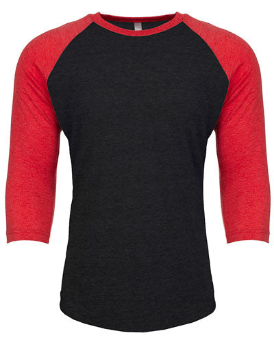 Vintage Red/ Vintage Black Custom Next Level Unisex Triblend 3/4-Sleeve Raglan