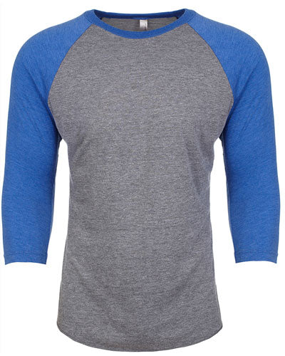 Vintage Royal/ Pr Heather Custom Next Level Unisex Triblend 3/4-Sleeve Raglan