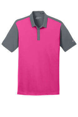 Vivid Pink/Dark Grey Nike Dri-FIT Colorblock Icon Modern Fit Polo With Logo