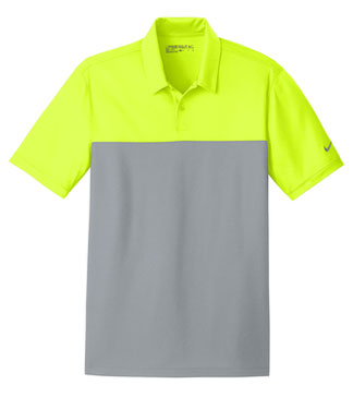 Volt/ Cool Grey Nike Dri-FIT Colorblock Micro Pique Polo With Logo
