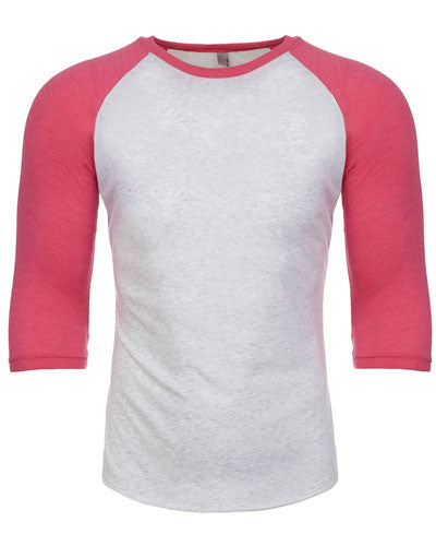 Vintage Pink/ Heather White Custom Next Level Unisex Triblend 3/4-Sleeve Raglan