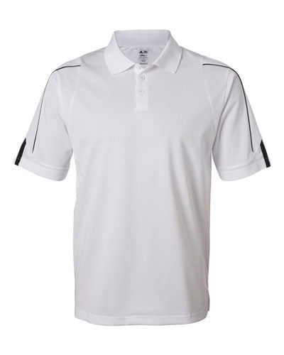 White Custom Adidas 3 Stripe Cuff Polo