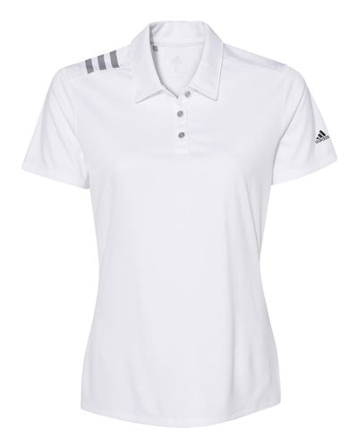 White Custom Adidas Womens 3 Stripe Polo