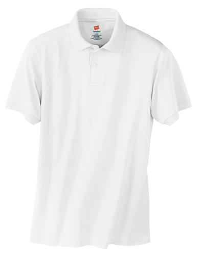 White Hanes Jersey Knit Polo With Logo