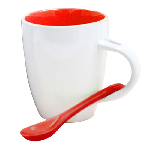 White and Red Custom Spoon Coffee Mug