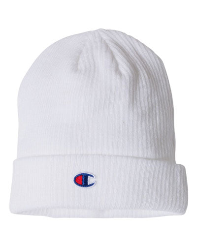 White Custom Champion Ribbed Knit Cap