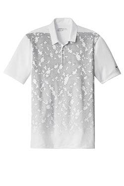 White/ Cool Grey Nike Dri-FIT Mobility Camo Polo With Logo