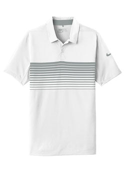 White/ Cool Grey Nike Dri-FIT Chest Stripe Polo With Logo