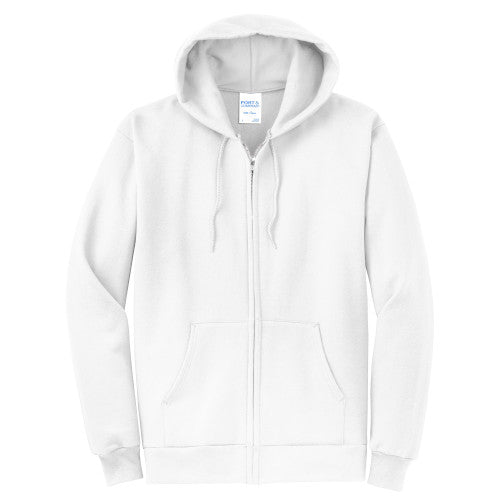 White Custom Full Zip Hooded Sweatshirt