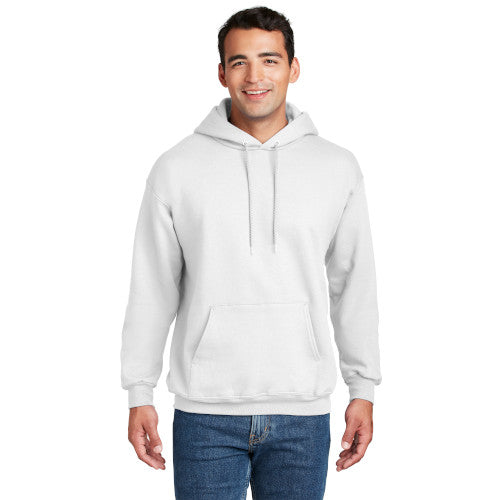White Custom Hanes Hooded Sweatshirt with logo